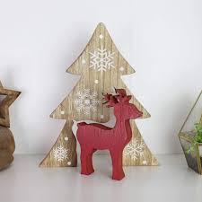 Hirsch Mit Tanne Rot Weihnachtsdeko Aus Holz Handarbeit