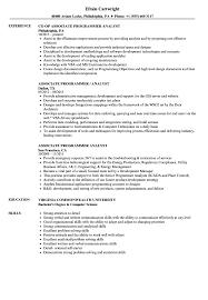 Programmer Analyst Resume Sample Associate Programmer Analyst Resume Samples Velvet Jobs 11