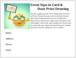 Summer Connection And Door Prize Drawing Cards Free Ms