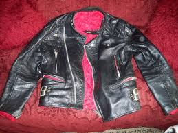 leather biker jacket red lining size s