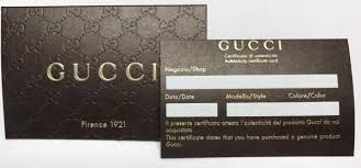 Gucci Certificate Of Authenticity Coa Unused New With Gucci Envelope
