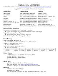 How To Make A Dance Resume Dance Resume