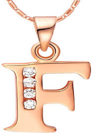 F Letter 18k Rose Gold Plated Necklace With Austrian Crystals Price