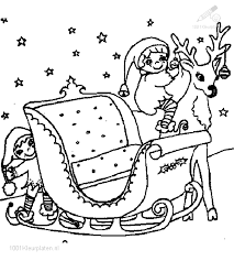 1001 Kleurplaten Kerst Slee Kleurplaat Kerstman Slee