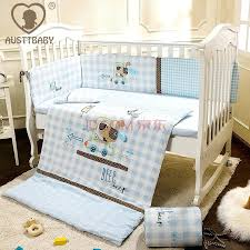 cot bedding set baby crib embroidery light blue cartoon dog cotton quilt pillow per bed sheet lambs ivy 6 piece crib bedding set