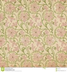Uitstekend Behang Roze Bloemen Stock Afbeelding Afbeelding