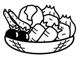 かご盛りの野菜の白黒イラスト かわいい無料の白黒イラスト モノぽっと