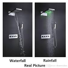 wall mounted multi function luxury shower head set hydro power color change rainfall waterfall bathroom faucet set led shower set shower head set bathroom