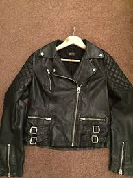 top black leather biker jacket size 12in waterlooville hampshire excellent condition size