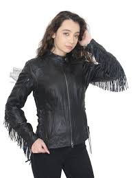 womens boone fringed winged b s patch black leather jacket tap to expand