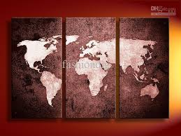 office canvas art. Free Shipping Oil Painting Canvas Decoration Abstract World Map Artwork High Quality Handmade Home Office Hotel Wall Art Decor