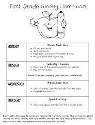 Weekly Homework Homework Welcome To First Grade