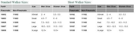 Medical Boot Size Chart 22 High Quality Cam Walker Boot Size Chart