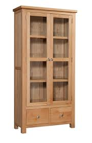 oak display cabinet with glass doors and 2 drawers