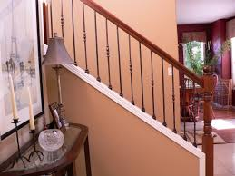 oil rubbed wrought iron baers restained post handrail oak rail with wood baers baer replacement before