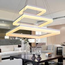 modern led rectangle pendant lamp led chandeliers fixture gold dining room living room bright led lamp acrylic ceiling light warm white hanging lights in