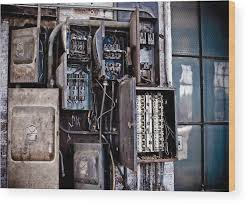 urban decay fuse box wood print by edward myers art wood print featuring the photograph urban decay fuse box by edward myers