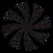 ドルの花火は回転を旋回しますベクトル イラストのスタイルは黒の背景に明るいフラット色とりどりの