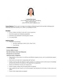 Objectives In Applying A Job As Service Crew Sample Resume