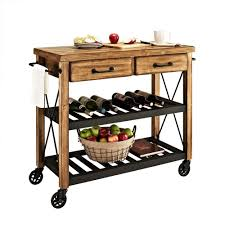 Crosley Furniture Kitchen Cart Crosley Roots Rack Industrial Kitchen Cart In Natural Cf3008 Na