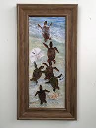 on turtle wall art painting with baby sea turtles framed art 21 x 11