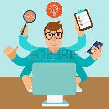 home office multitasking. fine office self employment concept in flat style  multitasking man working on  different projects from his home inside home office multitasking a