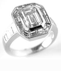 emerald cut with baguette halo ring