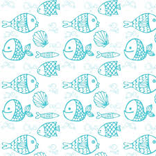 Fish Pattern Simple Blue Hand Drawn Fish Pattern Vector Free Download
