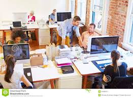 wide angle view busy design office. angle busy design office view wide a