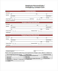 26 Emergency Contact Form In Pdf Free Documents In Pdf