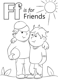 Friendship Coloring Pages Printable Letter F Is For Friends Coloring