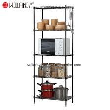 black powder coated 6 shelf diy adjule home kitchen open storage shelving rack unit pictures