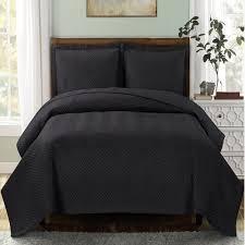 Black Quilted Bedspread Set | Bedspread, Bedrooms and Dorm & Black Quilted Bedspread Set Adamdwight.com