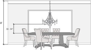 bottom of the chandelier should hang between 30 to 34 inches from the top of your table