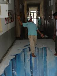 an older 3d art on floor of a school