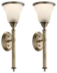 enchanting antique brass wall sconce reeded torch sconces pair in light antique brass finish medium