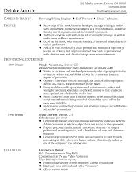 resume for audio engineer