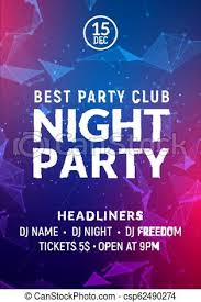 Concert Invite Template Night Dance Party Music Night Poster Template Electro Style Concert Disco Club Party Event Flyer Invitation