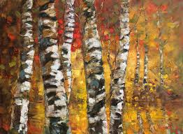 landscape painting birch trees in golden fall by ylli haruni