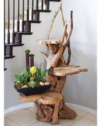 3 Tiered Driftwood Plant Stand With 3 Teak Shelving - Garden Age 47255