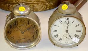 2 antique ansonia racket striking alarm clocks bell top