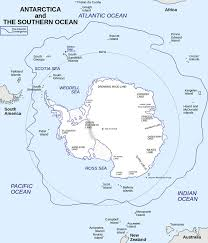 Antarctic Circle Map Large Simple Clear Incl Countries