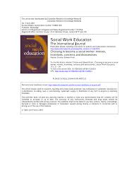 Become A Social Worker Pdf Choosing To Become A Social Worker Motives Incentives