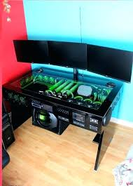 desk built in pc scratch build water cooled desk mod with built in car sound system desk built in pc