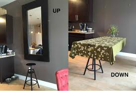 Against The Wall Dining Table A Hideaway Dining Table Using Ikea Mirror Ikea Hackers Ikea