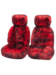 super special save 75 ultra premium 6 star long wool hooded seat covers red with black tips pair