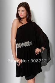 Designer One Shoulder Cocktail Dresses Turmec Black One Shoulder Long Prom Dresses