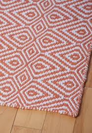 wild diamond eco cotton rug orange white room 022
