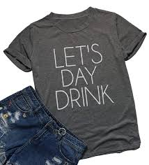 Fayaleq Lets Day Drink Funny Drinking T Shirt Women Letter Print Tops Casual Tee Blouse