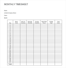 Timesheet Examples Free Free Monthly Template Weekly